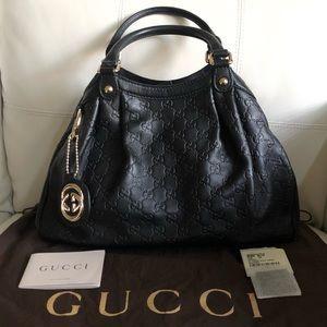 Gucci Black Guccissima Medium Sukey Leather Tote